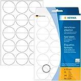 Herma 2279 Verschlussetiketten (perforiert, extrem stark haftend Folie matt, rund, 32 mm) 240 Stück transparent