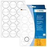 Herma 2279 Transparente Verschluss-Etiketten aus Folie, rund (Ø 32mm, A4 Klebefolie matt, stark haftend) 240 Klebepunkte, 16 Blatt, Handbeschriftung