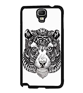 Fuson Designer Back Case Cover for Samsung Galaxy Note 3 Neo :: Samsung Galaxy Note 3 Neo Duos :: Samsung Galaxy Note 3 Neo 3G N750 :: Samsung Galaxy Note 3 Neo Lte+ N7505 :: Samsung Galaxy Note 3 Neo Dual Sim N7502 (Animated Cartoon Striped Tiger Face Black And White Striped Face)
