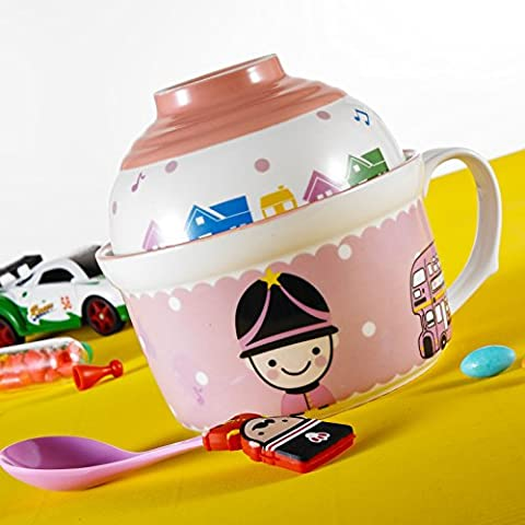Panbado Porcelain Cute Cartoon Noodles Bowl Novelty Ceramic Lovely Serving