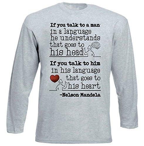 Teesquare1st Men's NELSON MANDELA LANGUAGE QUOTE Grey Long Sleeved T-shirt