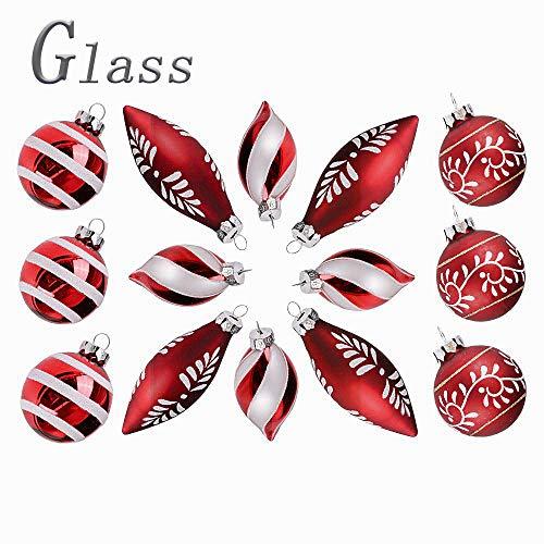 Valery madelyn 14 pezzi di natale baubles set di vetro rosso bianco lucido smerigliato ornamento di natale con neve modello pendente decorazioni albero di decorazione di natale per la festa nuziale