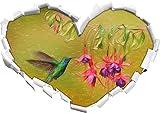 Grüner Kolibri trinkt vom Blütennektar Kunst Buntstift Effekt Herzform im 3D-Look , Wand- oder Türaufkleber Format: 62x43.5cm, Wandsticker, Wandtattoo, Wanddekoration