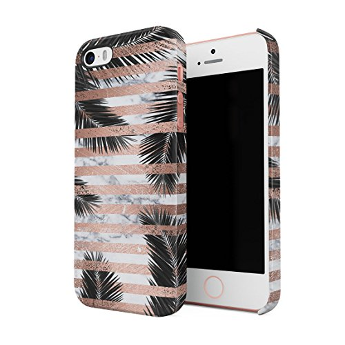 Palm Leaves Under White Marble & Rose Gold Stripes Dünne Rückschale aus Hartplastik für iPhone 5 & iPhone 5s & iPhone SE Handy Hülle Schutzhülle Slim Fit Case cover
