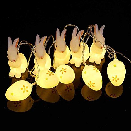 ledmomo œuf de Pâques Lapin de Pâques LED Veilleuse 10 LED Batterie fonctionnant Pâques Lapin et oeuf forme Guirlandes décoratives lumières (Blanc chaud)
