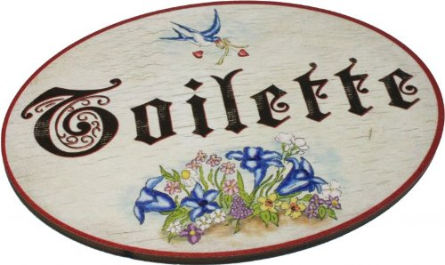 Kaltner präsente - targa per porta, in legno, stile vintage, scritta: toilette