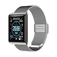 ANMY Full Touch Screen Heart Rate Monitor Waterproof Social Fitness Mobile Positioning Compatible With IOS Android Fitness Watch,Silversteel(steelstrip)