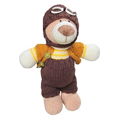 Preisvergleich Produktbild Kuscheldir 12003 Antuan der Pilot Teddy gehäkelt Flieger Reisen Teddybär mit Brille