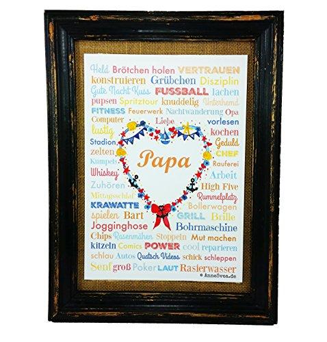 AnneSvea Papa A4 Vatertag Geburt Dad Poster Druck Geschenk Babyshower Babyparty Hochzeit Mothersday Danke Mitbringsel Schwiegermutter
