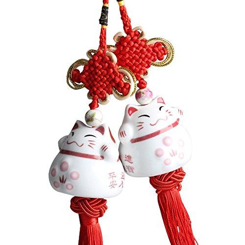 Glückliche Katze Anhänger Cociy SF1 Porzellan Maneki Neko Japanische Hängende Figur Glücksbringer mit traditionellen chinesischen Knoten Rot und Weiß (2 Stück) - Figuren Porzellan Chinesische