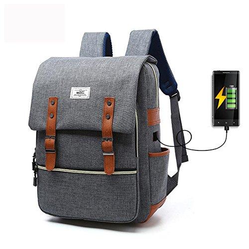 Zaino in tela Laptop zaino Viaggi all'aperto zaino Con porta USB di ricarica , watermelon red grey