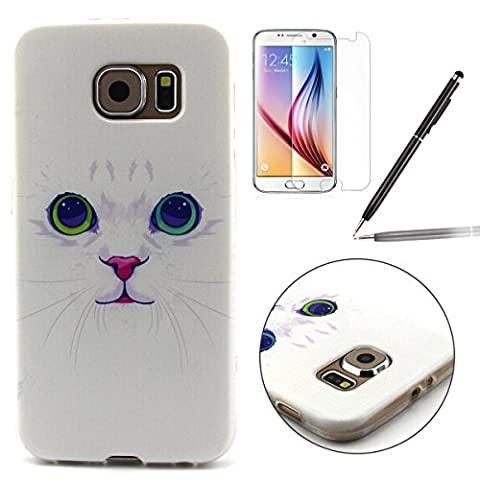 Samsung Galaxy S6 Case,Galaxy S6 G920 Cover - Felfy White Cat Pattern Ultra Thin Flexible TPU Rubber Soft Silicone Back Cover Protective Skin Case +1x Screen Protector +1x Black Stylus