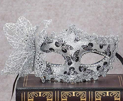 Veewon Elegante Frauen Venezianische Gesichtsmaske Gemalte Schmetterlingsdekoration Damen Mädchen Maskerade Masken für Halloween, Maskerade, Kostüm Party (Silber) (Maskerade Maske Für Mädchen)