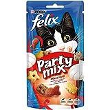 Felix Party Mix Snack per il Gatto, Mixed Grill Aromatizzato con Manzo, Pollo e Salmone, 60 g - Confezione da 8 Pezzi