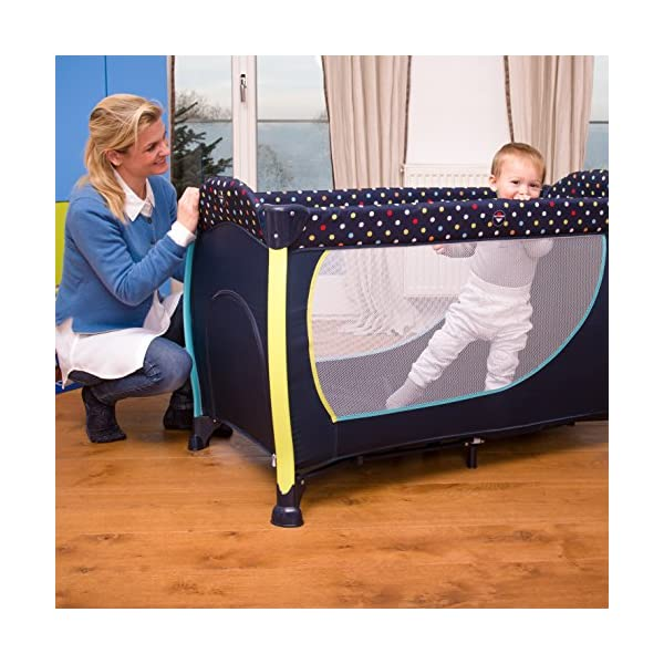 Hauck Sleep N Play Centre II, 7-part Folding Travel Cot from Birth to 15 kg, Bassinet and Changing Top, Folding Mattress and Wheels, Side Opening, Toy Bag, 120 x 60 cm, Multi Dots Navy Hauck Suitable from birth Includes fold up mattress (60 x 120cm) Folds away into its own carry bag 8