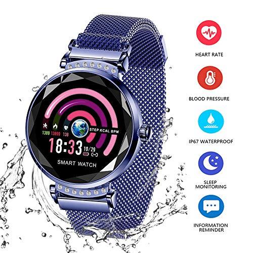 Wysgvazgv Smart Armband Damen H2 Fitness Tracker Armband mit Pulsmesser Blutdruck Herzfrequenz Schlafmonitor Smartwatch Wasserdichte IP67 Schrittzähler Farbbildschirm für Frauen Android iOS (Blau)