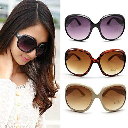 Mode Damen Sonnenbrillen Retro Vintage Große Gestellbrille Schatten Brillen (Schwarz)