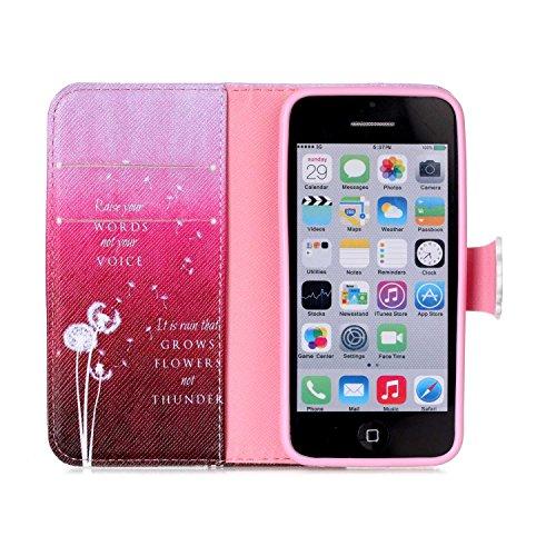 Voguecase® für Apple iPhone 4 4G 4S, Kunstleder Tasche PU Schutzhülle Tasche Leder Brieftasche Hülle Case Cover (My Phone 02) + Gratis Universal Eingabestift Red Löwenzahn