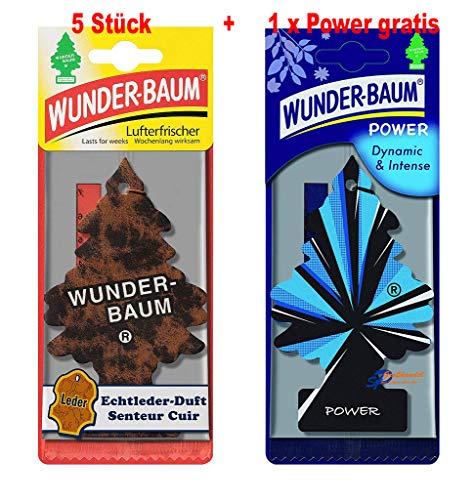 Wunderbaum 5 Stück Echtleder Lufterfrischer Duftbaum + 1 Stück Original Power Wunder-Baum Duftbäumchen Little Trees (Echtleder)
