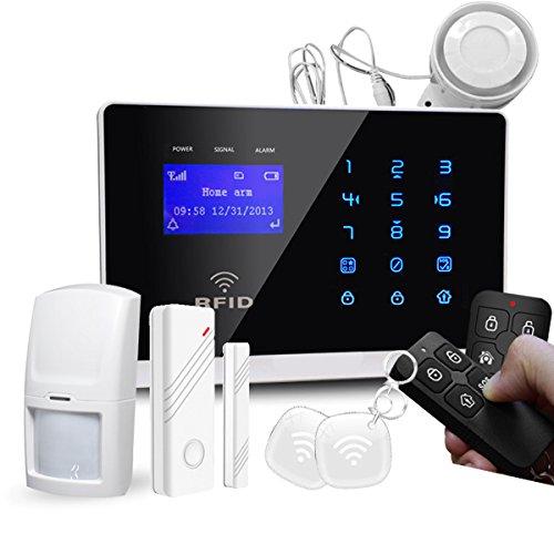 Model M2FX GSM Funk Alarmanlage mit Touchpad Monitor + Alarm SMS Anruf * Service + Support + Garantie * 100 Zonen erweiterbar * IOS Android APP-Fernbedienung * Set 1 mit 1 Bewegungsmelder + 1 Türkontakten - 3