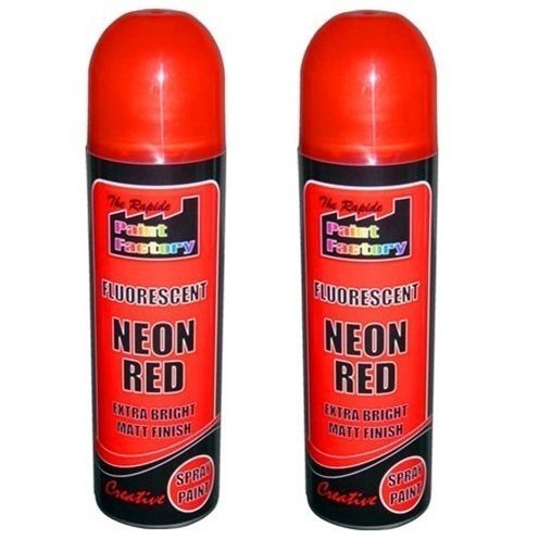 2-x-red-fluorescent-neon-spray-paint-matt-diy-interior-exterior-bright-colour-aerosol
