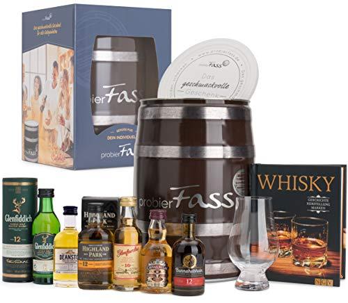 probierFass Whisky Geschenk | 6 Whisky Klassiker (6 x 0.05l) - 1 Glencairn Nosing Glas und ein interessantes Buch über Whisky in einem originellen Fass mit Geschenkverpackung