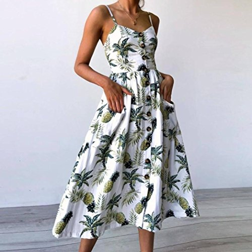Wawer Beach Dresses for Women, Summer Ladies Floral Print Buttons Off Shoulder Sleeveless Princess Dress,Holiday Backless Mid-Calf Length Sundress