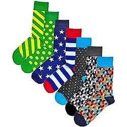 vitsocks Calcetines Geométricos Hombre, Buena Calidad, Divertidos Originales de Colores, polka dot: azul-multicolor, 43-46