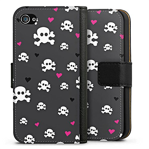 Apple iPhone X Silikon Hülle Case Schutzhülle Skull Heart Muster Sideflip Tasche schwarz