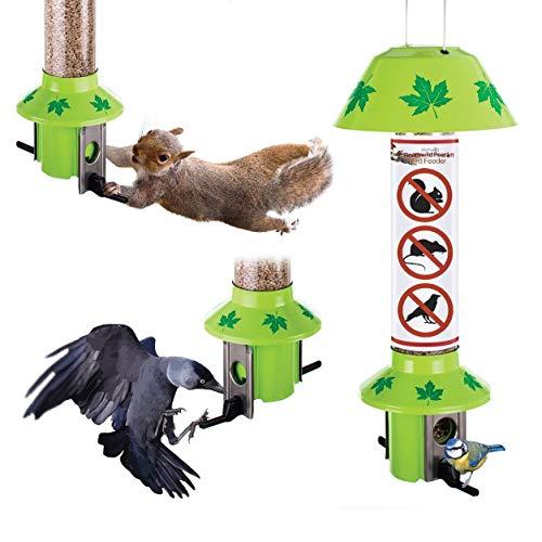 Roamwild Eichhörnchen Proof Wild Bird Feeder PestOff - Green Leaf Design (Gemischter Samen/Sonnenblumenherz Feeder)