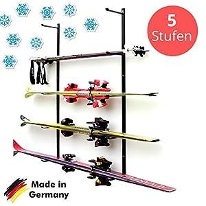 Skihalter | Wandhalterung Premium | 5 Ebenen | Beschichtete Skihalterung | Skiaufbewahrung | Richtige Lagerung an der Wand | Ordnungssystem für Garage/Keller | Ski-Zubehör | Inkl. Montagematerial