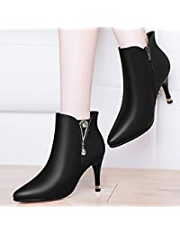 GTVERNH-Le Nouvel Hiver Hauts Talons, Les Femmes Des Bottes Bien British Chaussures, Bottes Martin Sexy Bottes Mode Tide,Trente - Cinq,Black