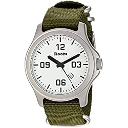 Roots Men's 'Core' Quartz Stainless Steel and Nylon Casual Watch, Color:Green (Model: 1R-LF400WH7G)