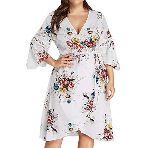 OIKAY modische große Größe ärmellos/Langarm Maxi-Kleid Womens Plus Size Solid Rose Stickerei Flora Kleider