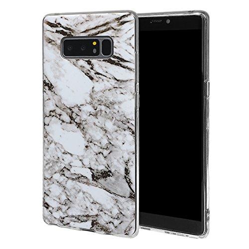 xhorizon MLK [Modèle de marbre] Couverture d'étui avec peau de bonbons en Caoutchouc souple TPU léger et ultra mince pour Samsung Galaxy Note 8 avec 9H film de protection verre trempée #04 +9H Glass Tempered Film