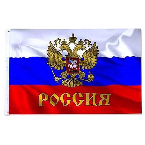 Preisvergleich Produktbild Fahne Flaggen RUSSLAND WAPPEN mit Adler 150x90cm