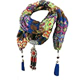 #2: GirlZ! Blue Color Stone And Beads Necklace Trendy Pendant Poly Cotton Scarf / Stole For Women
