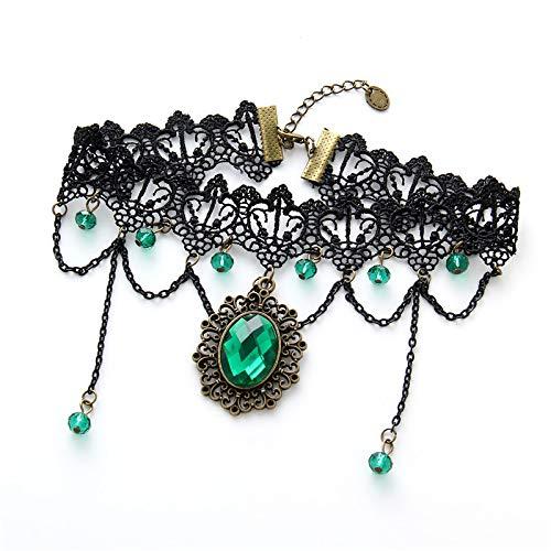 yanming Hochzeitsschmuck Retro-Übertreibung schwarzer Spitze Smaragd Kristall gesäumt mehrstöckige Halskette Artikel Dekoration - Spitze Gesäumt