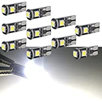 Safego 10pcs W5W COB 168 LED Replacement Bulbs For Car Interior Parking Reverse Clearance Backup Brake Lights Bright White 6000K 12V T10-COB-36mmL-W-10 T10 194 Led Car Bulb