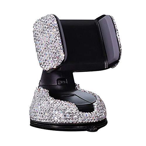 """Bling Strass Handyhalter, Universal Windschutzscheibe Armaturenbrett Air Outlet Phone Mount Saugnapf Einstellbare Handyhalterung Cradle für Easy View GPS-Bildschirm, kompatibel mit 4.0-6.2 \""""Smartphone"""