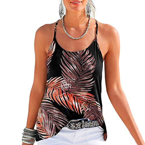 COCODE ÄRmelloses Damen-Camisole-Top Damenmode ärmellose Sling Neckholder-Blumendruck-Trägershirt-beiläufige Bluse -