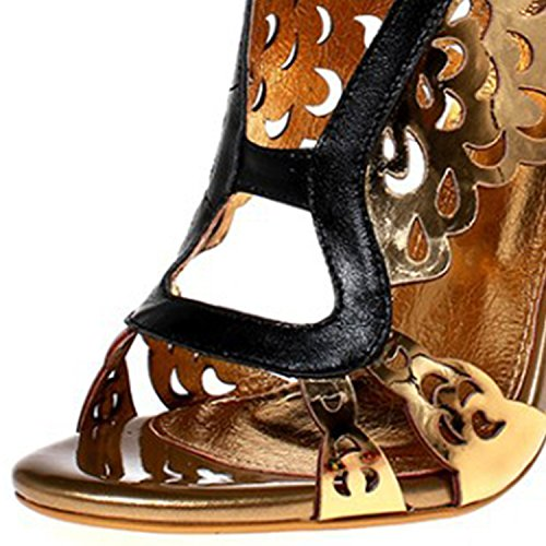 Oasap Women's Genuine Leather Peep Toe Wing Hollow out Stiletto Sandals golden