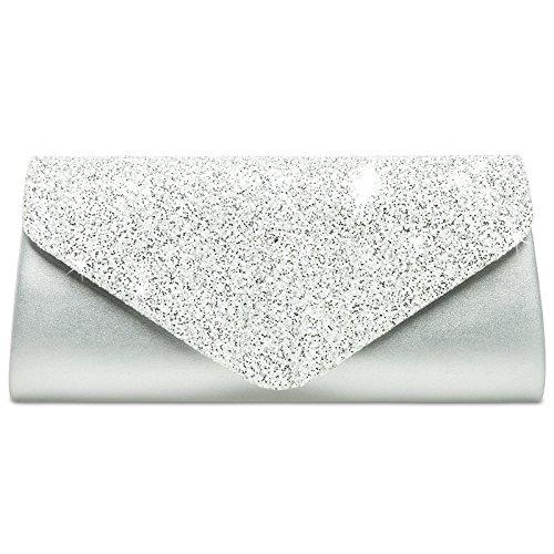 CASPAR TA332 Damen elegante große XL Envelope Glitzer Clutch Tasche Abendtasche, Farbe:silber / weiß