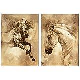 VORCOOL Öl Leinwand Malerei Wandkunst Ungerahmt Zwei Panels Pferd Bilder Dekorative Moderne Abstrakte Ölgemälde für Zuhause Wohnzimmer Schlafzimmer Decor 50x70 cm