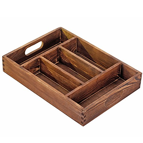 MyGift Torched Wood 5 Compartment Tabletop Organizer Storage Tray, Kitchen Cutlery Caddy