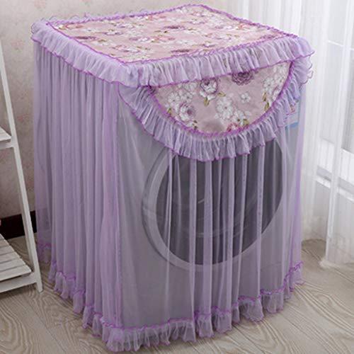 Dapei Lace Staubschutzhülle mit Ruffle Floral Bedruckte für Waschmaschinenschutz, Langlebige und praktische Haushaltsdekoration Waschmaschine Schutzhülle (D, Elegant Lila Blumenmuster) -