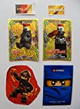 Lego Ninjago Serie 3 - 2 limitierte Gold Karten Trading Cards LE 21 Gemeiner Nails, LE 22 Gemeiner Chopper Maroni + 1 Ninjago Aufkleber Kai + 1 Ninjago Schútzhülle
