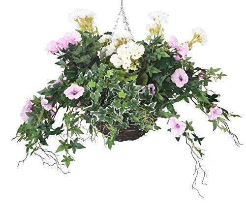 closer2nature Künstliche Geranie weiß und rosa Morning Glory Display in 35,6cm rund Weiden Blumenampel