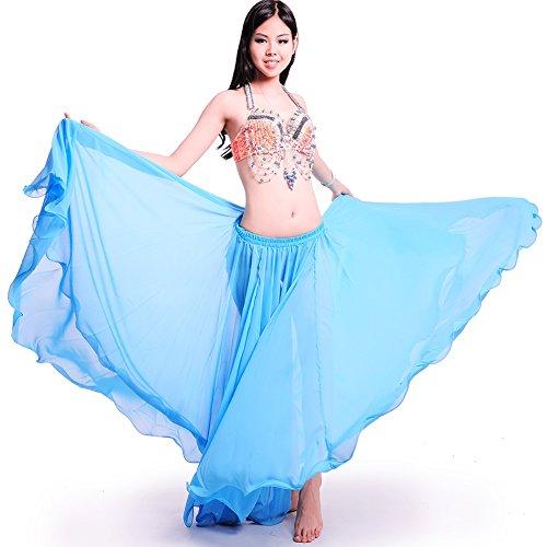 Royal smeela mujeres del vientre Danza Falda ATS gasa Maxi Full Tribal Bellydance (azul claro, Talla única)