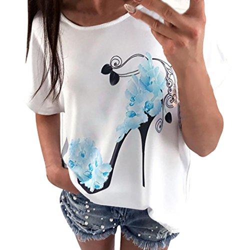 Camicia bianca da donna,meibax donna manica corta tacchi alti stampati cime spiaggia casual camicia sciolto top t shirt e tops da donna tinta unita casual da maglietta maglia moda donna (blu, m)